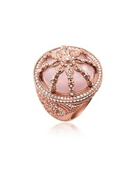Thomas Sabo Rings 18K Rose Gold Plated Sterling Silver Ring W White Zirconia And Rose Quartz