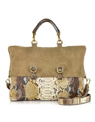 Ghibli Golden Brown Python Tote W Detachable Shoulder Strap