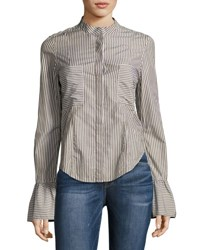 Frame Fitted Striped Poplin Top Green Pattern
