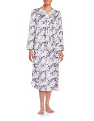Carole Hochman Plus Midi Floral Satin Nightgown Purple