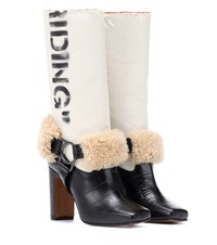 Off White Riding Leather Boots Black