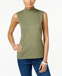 Karen Scott Sleeveless Mock Turtleneck Top Only At Macy's Olive Sprig