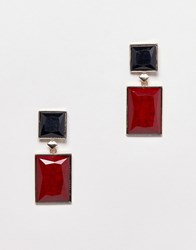 Stradivarius Square Drop Earrings Red