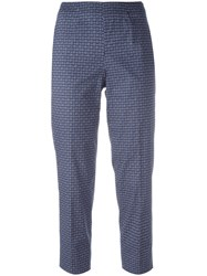 Piazza Sempione Woven Print Cropped Trousers Blue