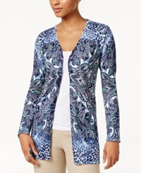 Jm Collection Printed Open Front Cardigan Only At Macy's Intrepid Blue Combo