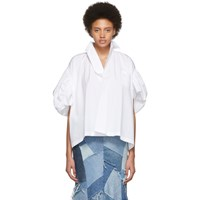 Junya Watanabe White Gathered Sleeve Blouse