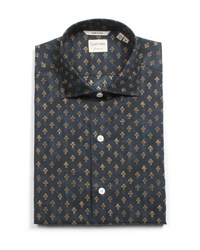 Culturata Tailored Fit Fleur De Lis Dress Shirt Navy