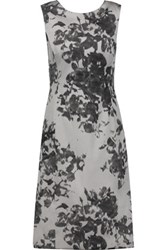 Oscar De La Renta Floral Printed Twill Dress Ivory