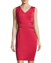 Jax Lace Inset Sleeveless Sheath Dress Red