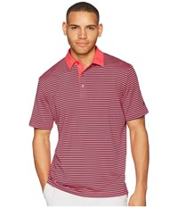 Callaway Refined 3 Color Stripe Polo Raspberry Clothing Pink