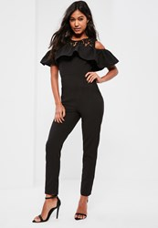 Missguided Black Lace Detail Frill Overlay Jumpsuit