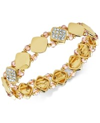 Nine West Polished Pave Stretch Bracelet Gold