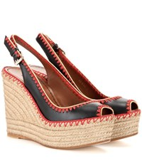 Valentino Leather Peep Toe Espadrille Wedge Sandals Black