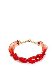 Marni Twisted Plexi Necklace Red