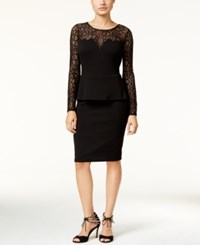 Thalia Sodi Lace Peplum Dress Only At Macy's Deep Black