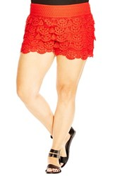 City Chic Plus Size Women's Tiered Lace Short Shorts Zing