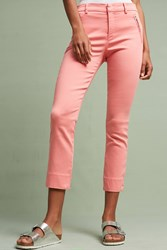 Anthropologie Level 99 Liza Sateen Skinny Trousers Coral