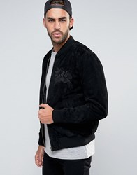 Asos Suede Bomber Jacket With Embroidery In Black Black