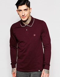Pretty Green Polo In Pique With Long Sleeves In Burgundy Burgundy
