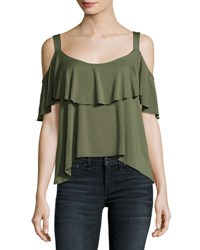 Ella Moss Bella Envelope Cold Shoulder Top Olive