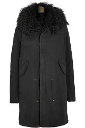 Mr And Mrs Italy Shearling Trimmed Cotton Canvas Parka Black