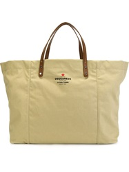 Dsquared2 Large Rectangular Tote Nude And Neutrals