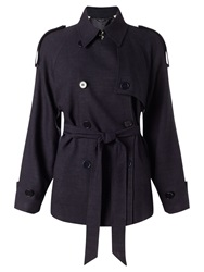 Jigsaw Cropped Trench Coat Navy