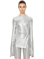 Paco Rabanne Stretch Lurex Jersey Long Sleeve Top Silver