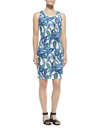 Etro Sleeveless Paisley Tank Dress Blue White