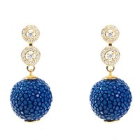 Latelita London Stingray Ball Earring With Zircon Royal Blue Blue Gold