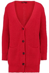 Maje Cable Knit Cardigan Red