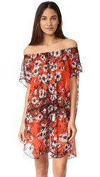 Fuzzi Floral Off The Shoulder Dress Fiamma