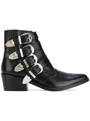 Toga Pulla Multi Straps Boots Calf Leather Leather Black