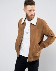 Asos Leather Flight Jacket With Borg In Tan Tan