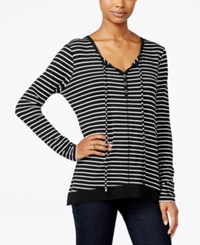Ultra Flirt Juniors' Striped Tie Neck Tunic Black White Stripe