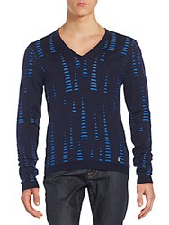 Versace Textured V Neck Sweater Blue Multi