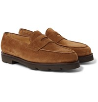 John Lobb Lopez Suede Penny Loafers Brown