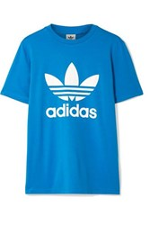 Adidas Originals Trefoil Printed Stretch Cotton Jersey T Shirt Bright Blue