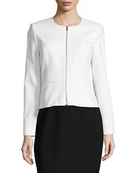 Calvin Klein Knit Zip Front Jacket White