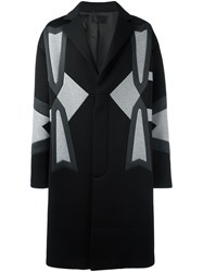 Les Hommes Panelled Mid Length Coat Black