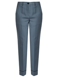 Miu Miu Slim Leg Cropped Stretch Wool Trousers Blue