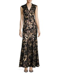 Decode 1.8 Cap Sleeve Metallic Lace Mermaid Gown Black Gold