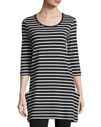 Joan Vass Striped Cotton Interlock Tunic Black White Plus Size Black White