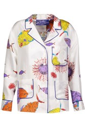 Emilio Pucci Printed Silk Satin Shirt Royal Blue