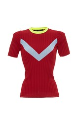 Versace Contrast Collar Chevron Short Sleeve Knit Tee Red Blue Yellow