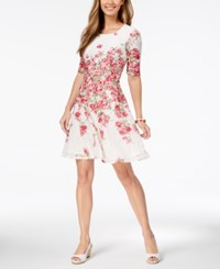 Charter Club Petite Floral Print Lace Fit And Flare Dress Created For Macy's Cloud Combo
