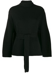 Lamberto Losani Belted Turtle Neck Jumper Black