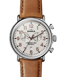 Shinola 47Mm The Runwell Chronograph Watch W Statue Of Liberty Back And Leather Strap Brown
