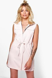 Boohoo Utility Zip Front Shirt Dress Nude