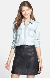 Women's Halogen Long Sleeve Chambray Shirt Super Bleach